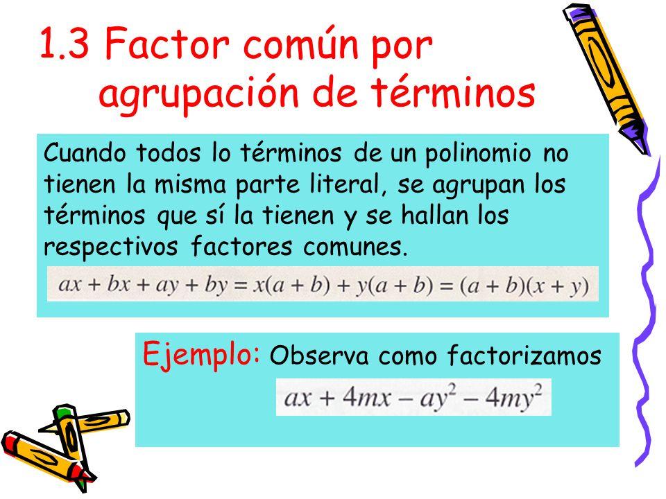 1.3 Factor común por agrupación de términos