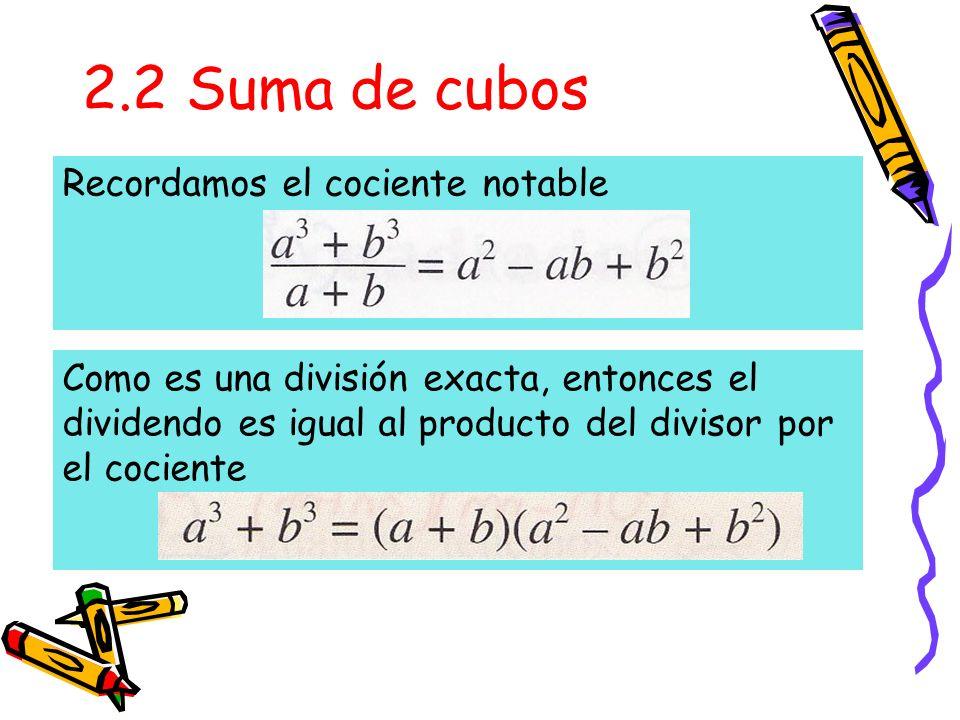 2.2 Suma de cubos Recordamos el cociente notable