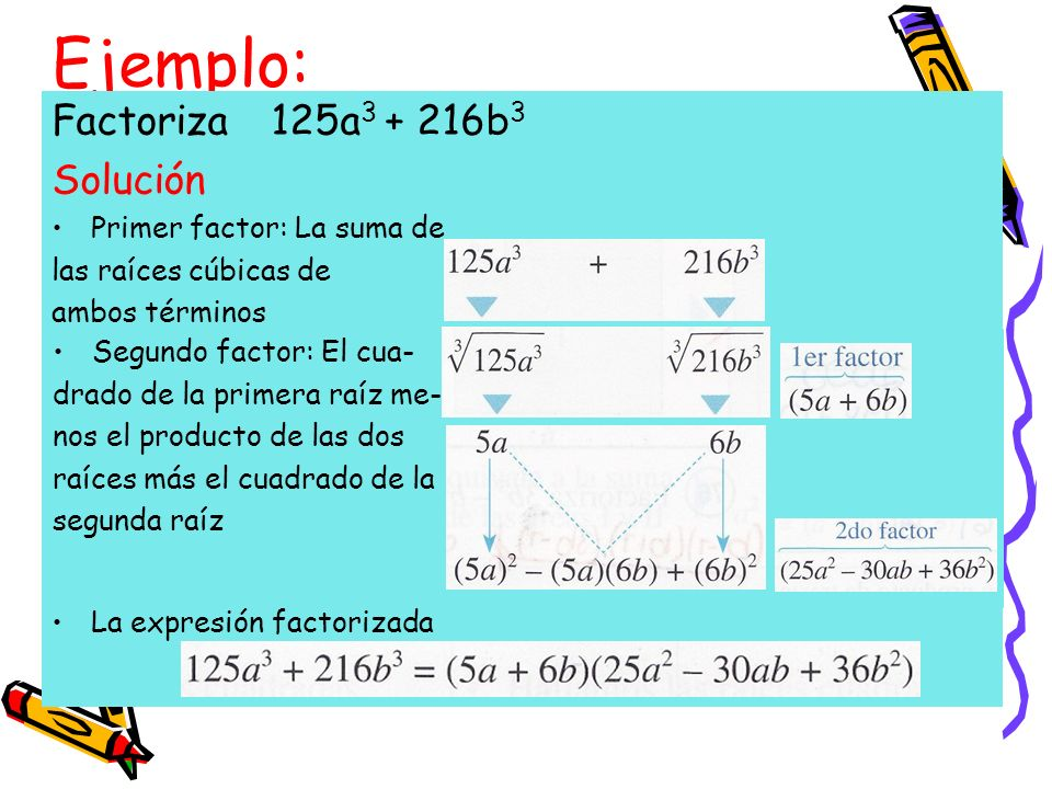 Ejemplo: Factoriza 125a3 + 216b3 Solución Primer factor: La suma de