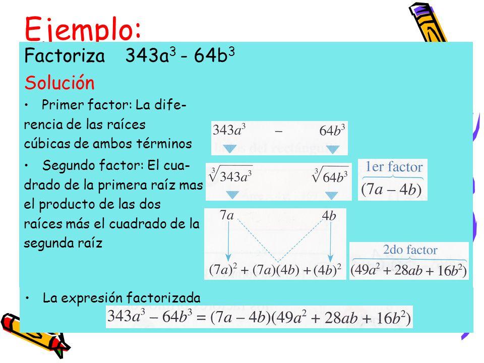 Ejemplo: Factoriza 343a3 - 64b3 Solución Primer factor: La dife-
