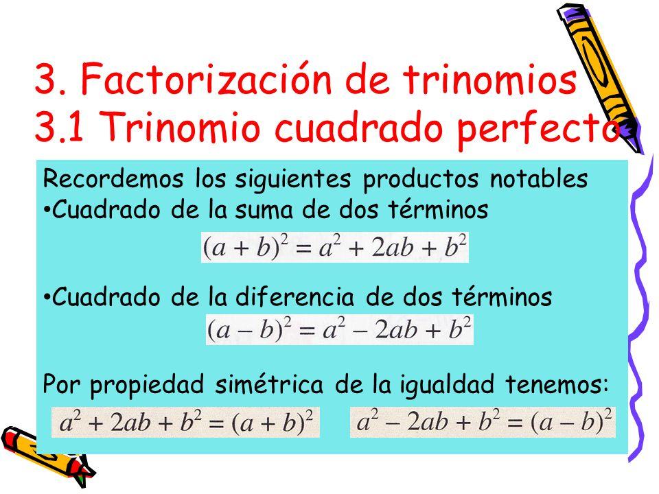 3. Factorización de trinomios 3.1 Trinomio cuadrado perfecto