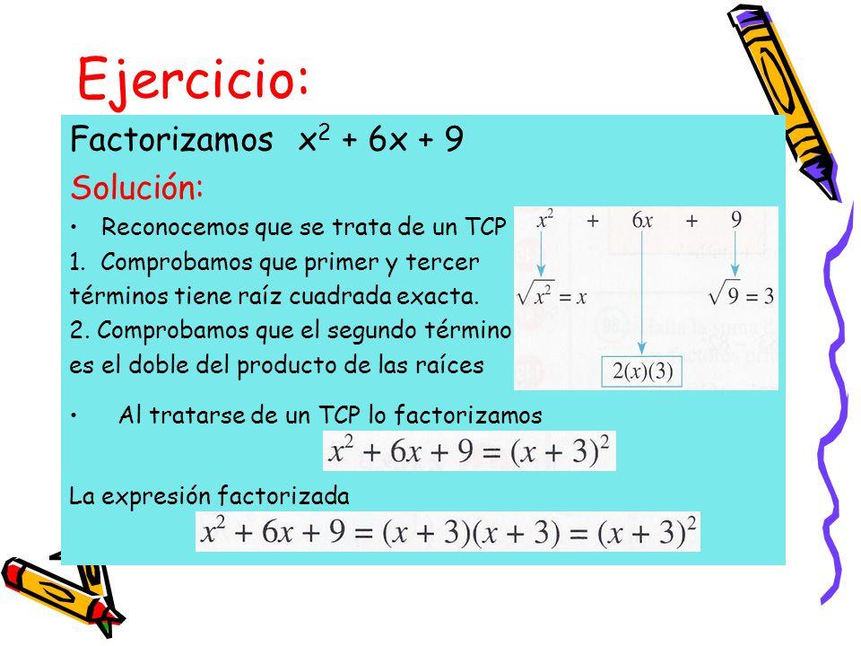 Ejercicio: Factorizamos x2 + 6x + 9 Solución:
