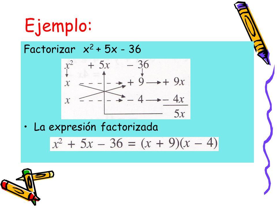 Ejemplo: Factorizar x2 + 5x - 36 La expresión factorizada