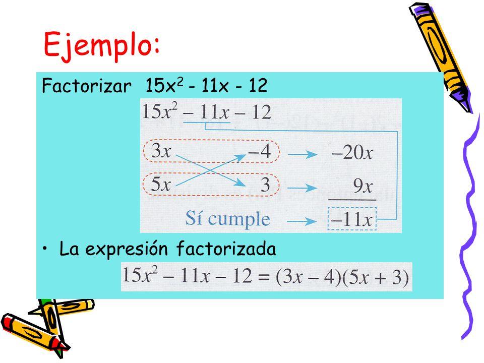 Ejemplo: Factorizar 15x2 - 11x - 12 La expresión factorizada