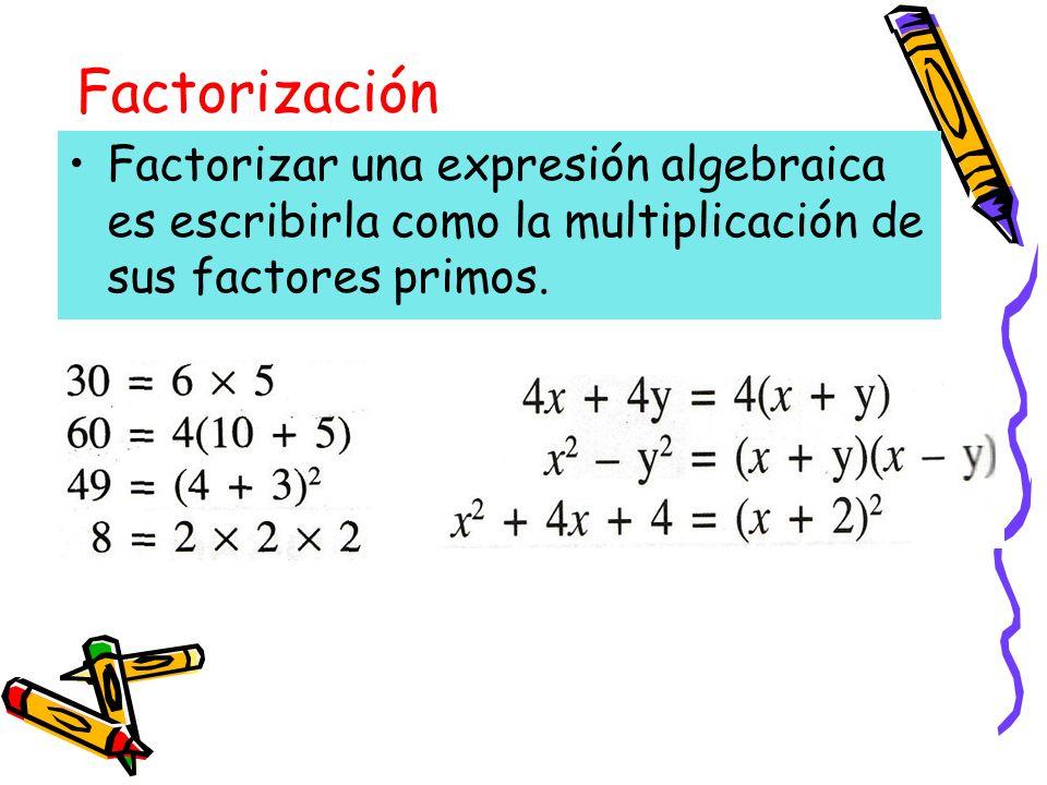 FactorizaciónFactorizar una expresión algebraica es escribirla como la multiplicación de sus factores primos.