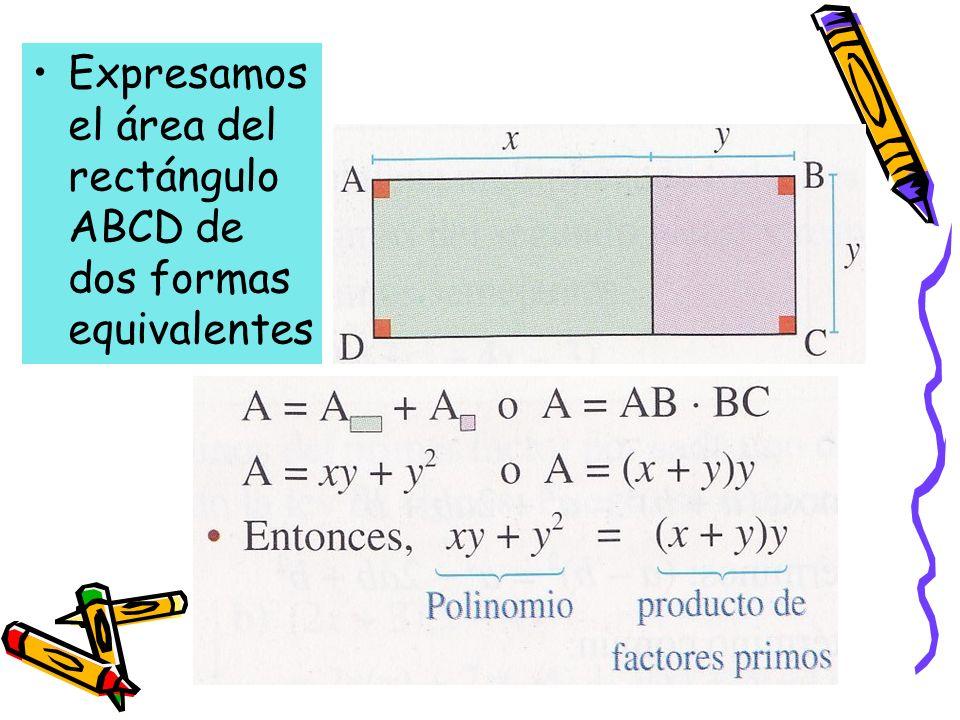 Expresamos el área del rectángulo ABCD de dos formas equivalentes