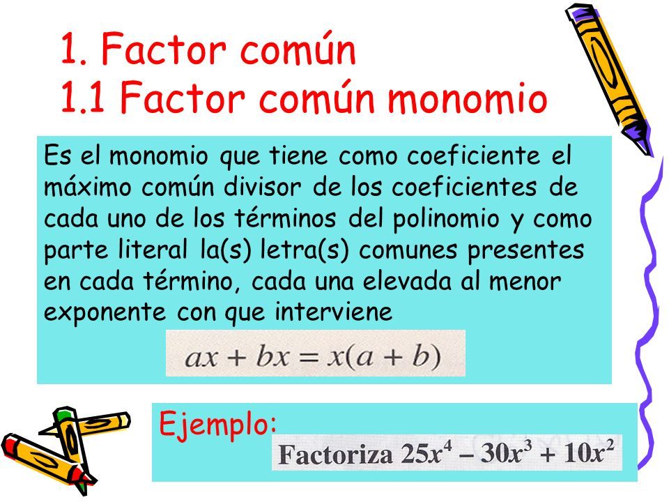 1. Factor común 1.1 Factor común monomio