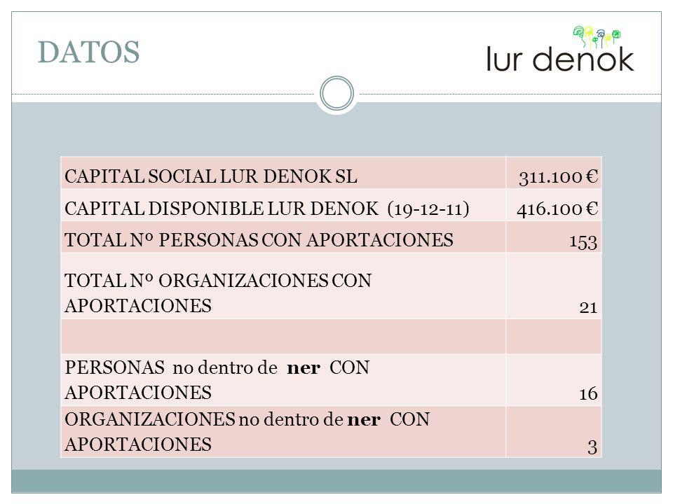 DATOS CAPITAL SOCIAL LUR DENOK SL 311.100 €