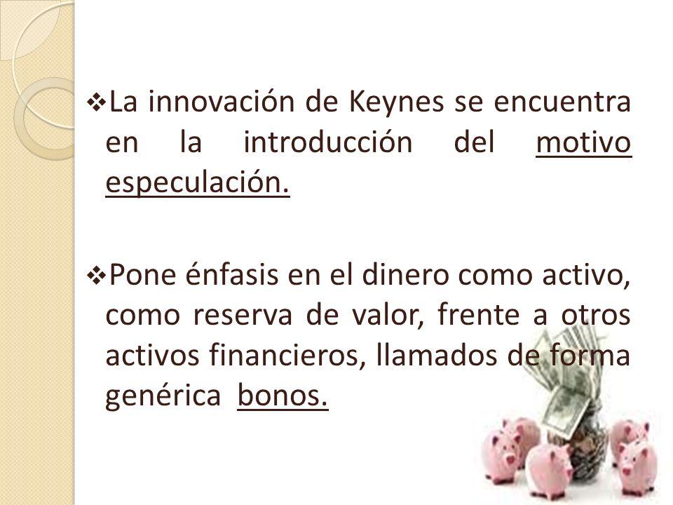 La innovación de Keynes se encuentra en la introducción del motivo especulación.