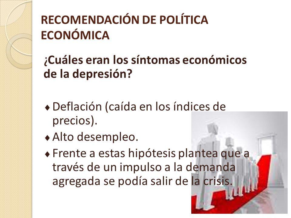 RECOMENDACIÓN DE POLÍTICA ECONÓMICA