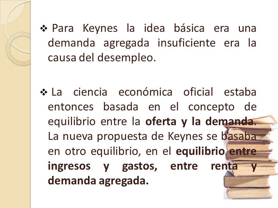 Para Keynes la idea básica era una demanda agregada insuficiente era la causa del desempleo.