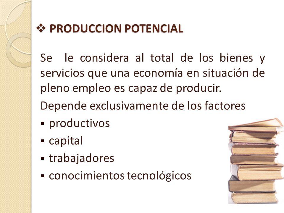 PRODUCCION POTENCIALSe le considera al total de los bienes y servicios que una economía en situación de pleno empleo es capaz de producir.
