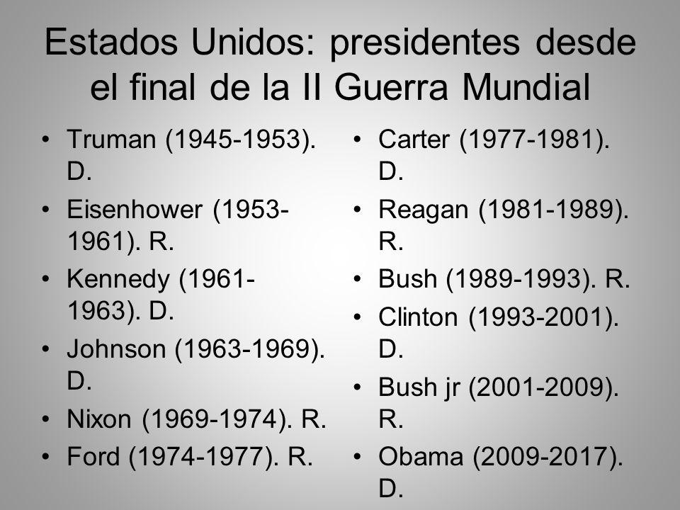 Estados Unidos: presidentes desde el final de la II Guerra Mundial