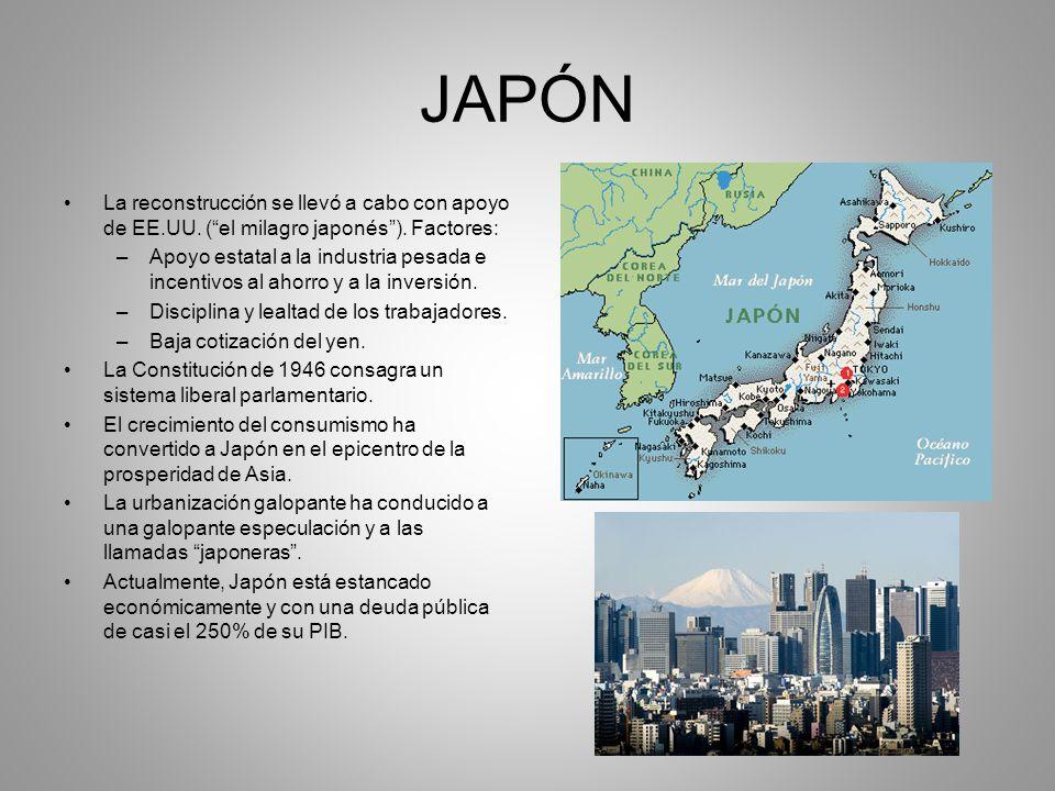 JAPÓN La reconstrucción se llevó a cabo con apoyo de EE.UU. ( el milagro japonés ). Factores: