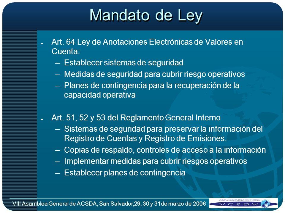 Mandato de Ley Art. 64 Ley de Anotaciones Electrónicas de Valores en Cuenta: Establecer sistemas de seguridad.