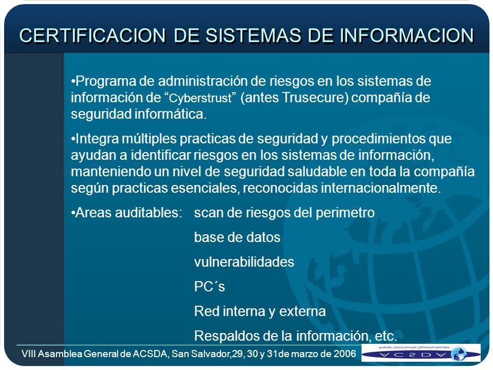 CERTIFICACION DE SISTEMAS DE INFORMACION
