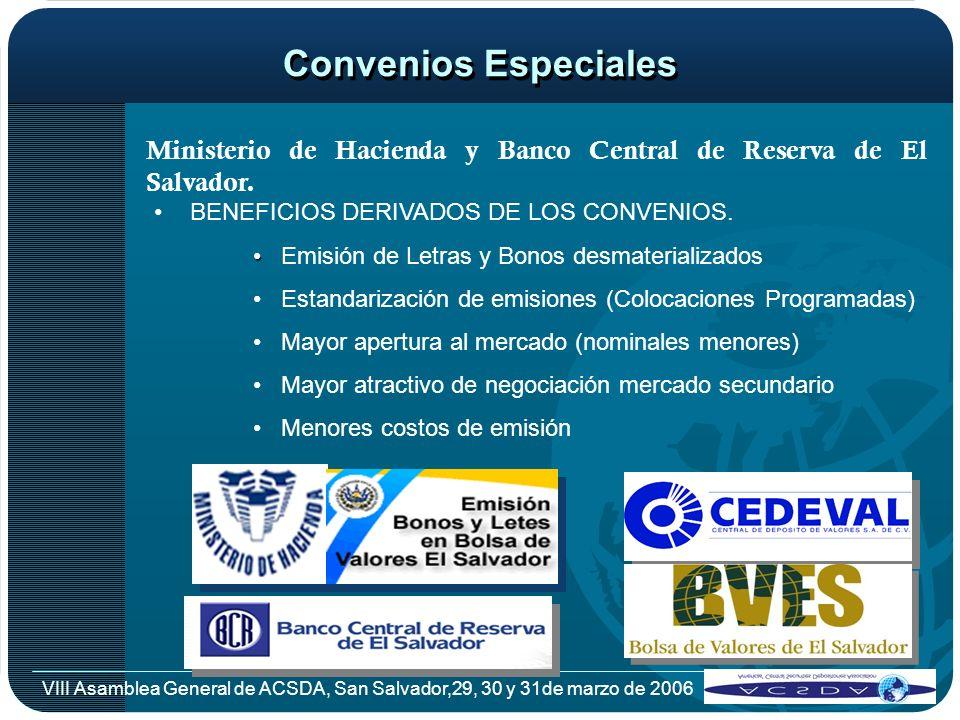Convenios Especiales Ministerio de Hacienda y Banco Central de Reserva de El Salvador. BENEFICIOS DERIVADOS DE LOS CONVENIOS.