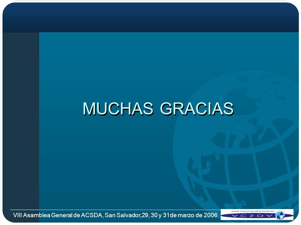 MUCHAS GRACIAS VIII Asamblea General de ACSDA, San Salvador,29, 30 y 31de marzo de 2006