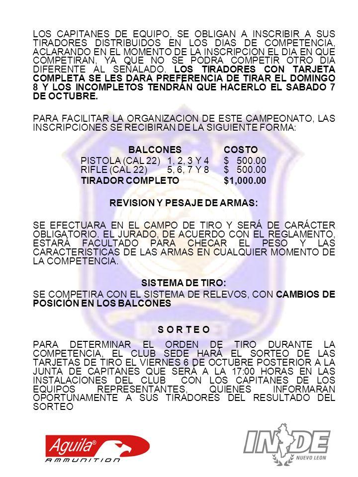 REVISION Y PESAJE DE ARMAS: