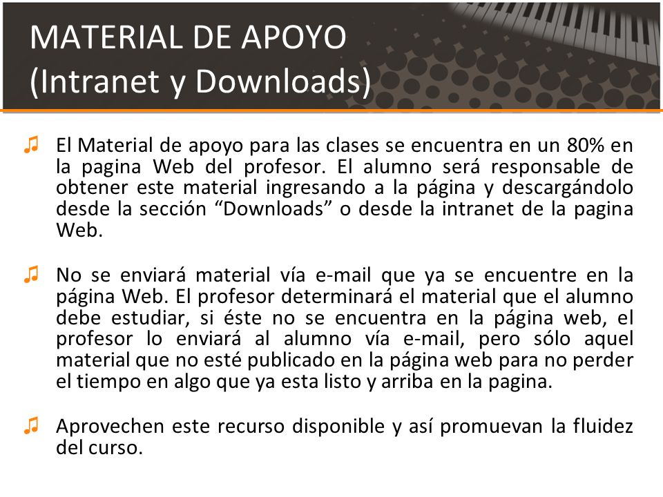 MATERIAL DE APOYO (Intranet y Downloads)