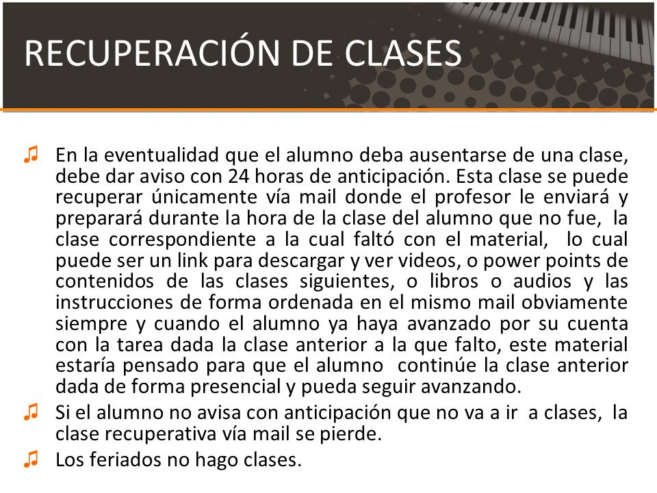 RECUPERACIÓN DE CLASES