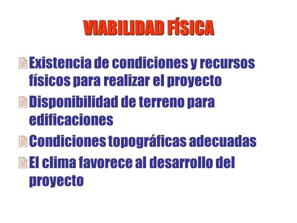 VIABILIDAD FÍSICAExistencia de condiciones y recursos físicos para realizar el proyecto. Disponibilidad de terreno para edificaciones.
