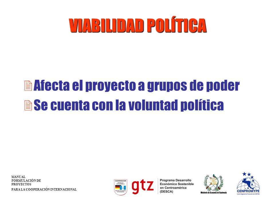 VIABILIDAD POLÍTICA Afecta el proyecto a grupos de poder