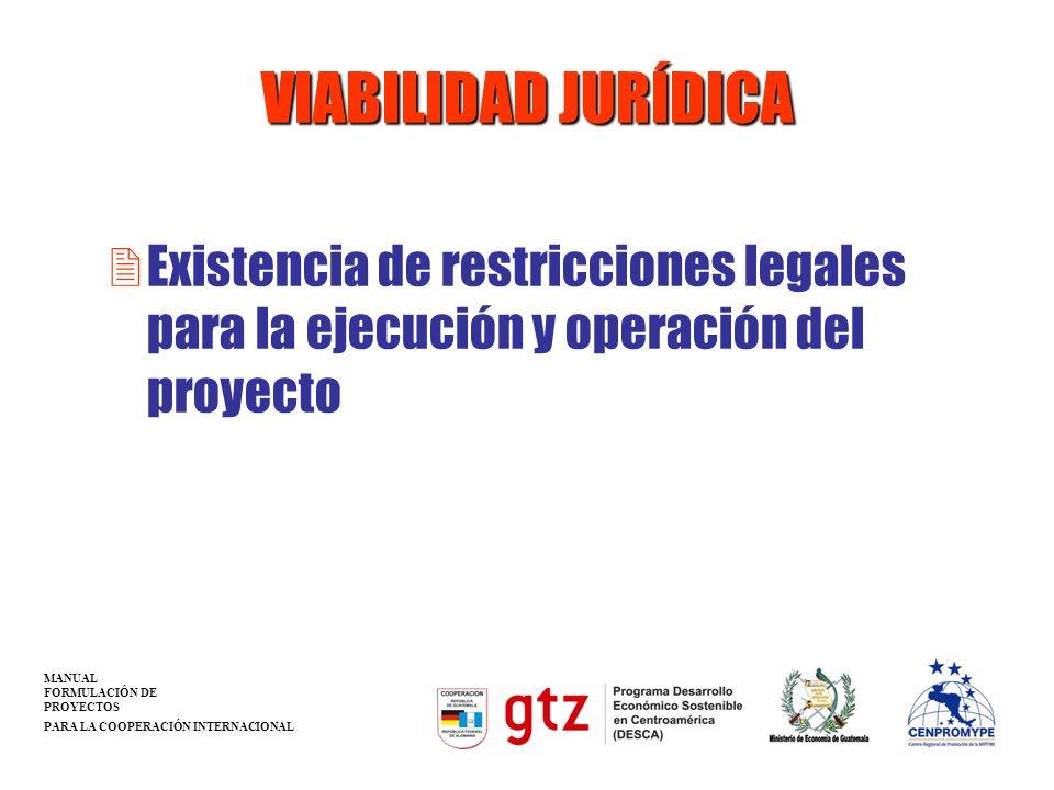 VIABILIDAD JURÍDICAExistencia de restricciones legales para la ejecución y operación del proyecto. MANUAL.