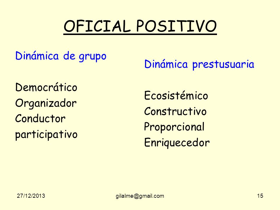 OFICIAL POSITIVO Dinámica de grupo Dinámica prestusuaria Democrático