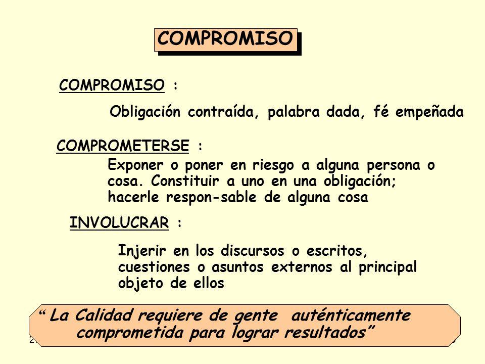 COMPROMISO COMPROMISO : Obligación contraída, palabra dada, fé empeñada. COMPROMETERSE :