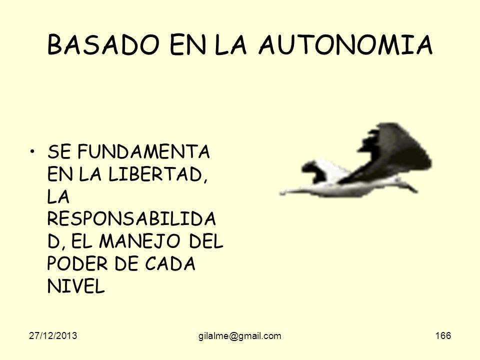 BASADO EN LA AUTONOMIA SE FUNDAMENTA EN LA LIBERTAD, LA RESPONSABILIDAD, EL MANEJO DEL PODER DE CADA NIVEL.