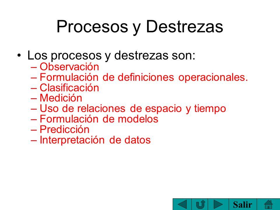 Procesos y Destrezas Los procesos y destrezas son: Observación