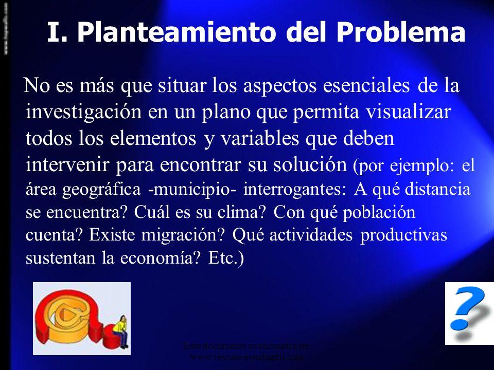 I. Planteamiento del Problema