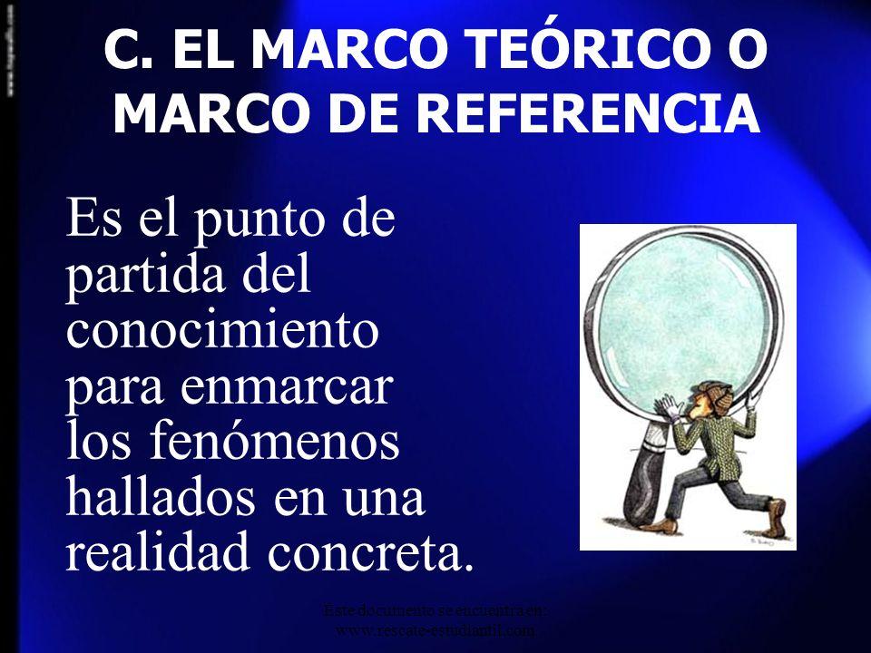 C. EL MARCO TEÓRICO O MARCO DE REFERENCIA
