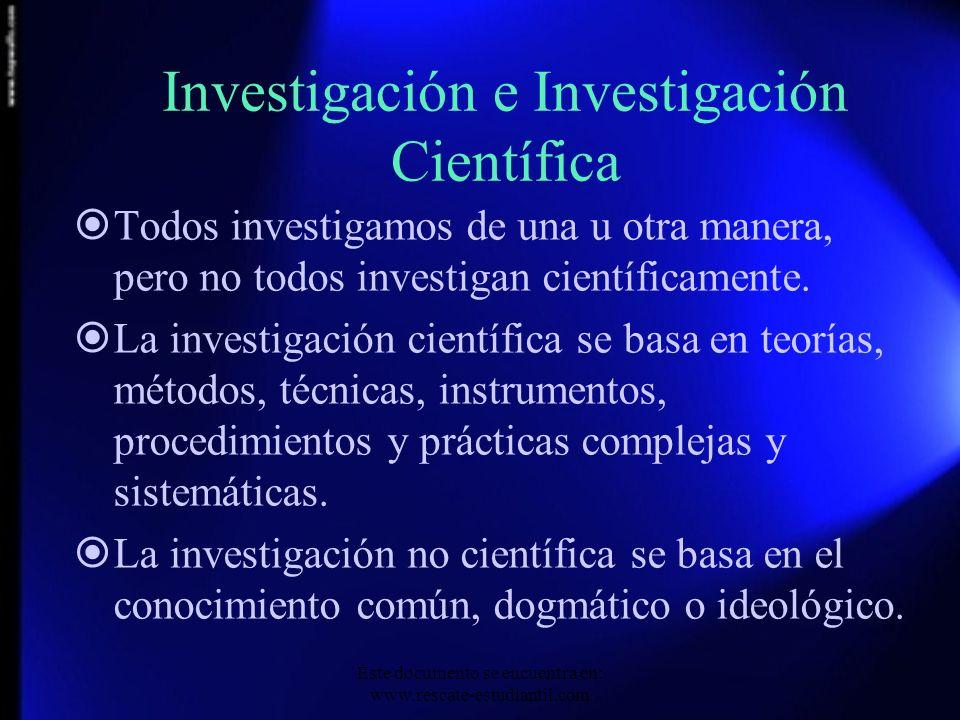 Investigación e Investigación Científica