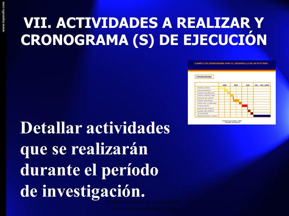 VII. ACTIVIDADES A REALIZAR Y CRONOGRAMA (S) DE EJECUCIÓN