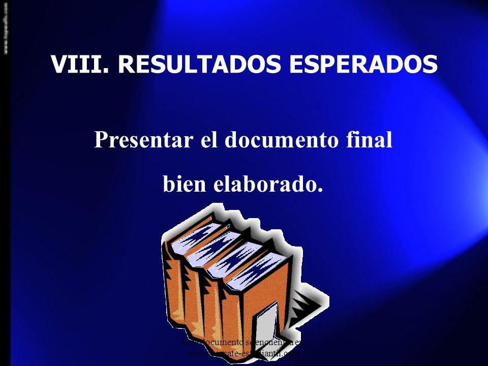 VIII. RESULTADOS ESPERADOS