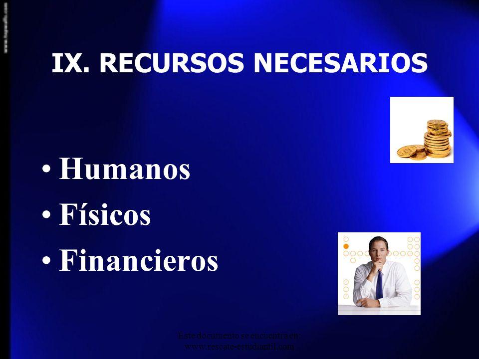 IX. RECURSOS NECESARIOS