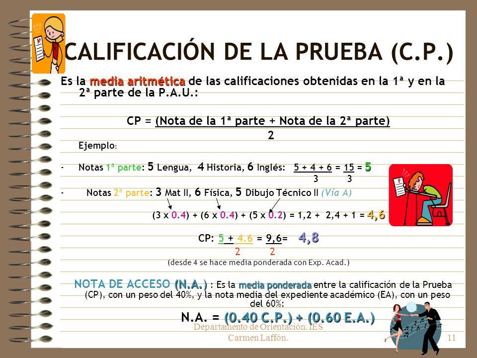 CALIFICACIÓN DE LA PRUEBA (C.P.)