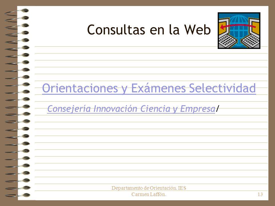 Consultas en la Web Orientaciones y Exámenes Selectividad