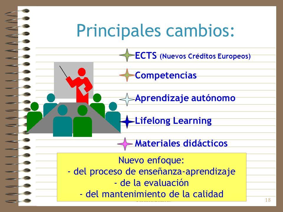 Principales cambios: ECTS (Nuevos Créditos Europeos) Competencias