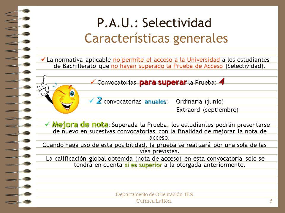 P.A.U.: Selectividad Características generales