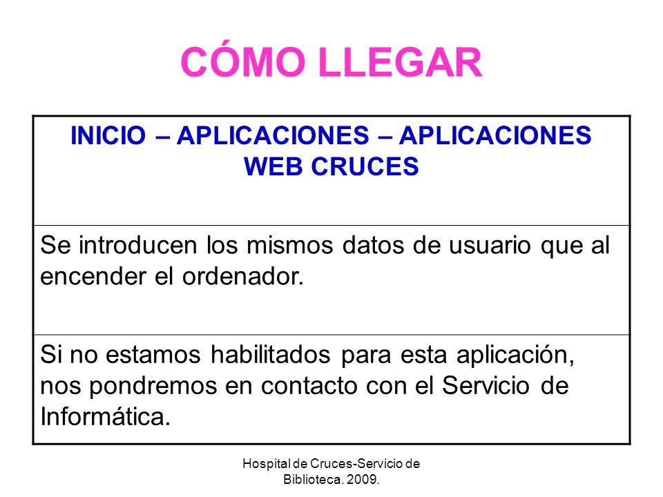 INICIO – APLICACIONES – APLICACIONES WEB CRUCES