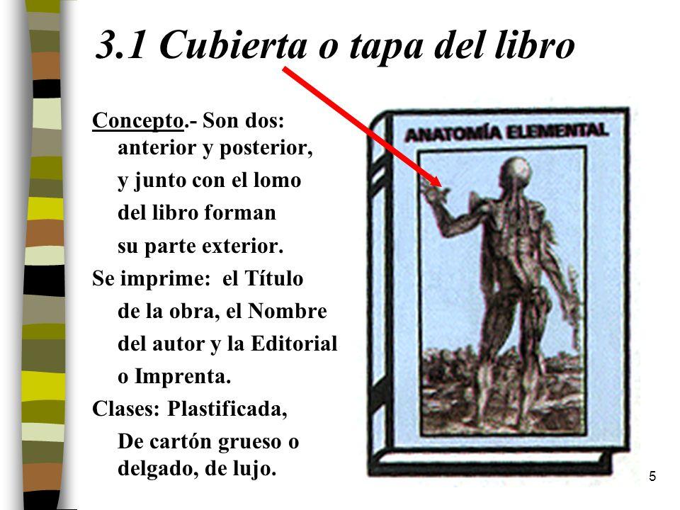3.1 Cubierta o tapa del libro