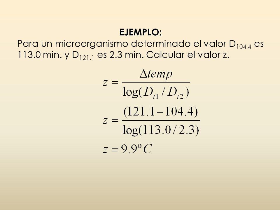 EJEMPLO: Para un microorganismo determinado el valor D104. 4 es 113