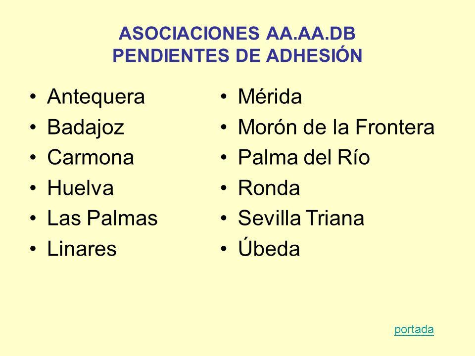 ASOCIACIONES AA.AA.DB PENDIENTES DE ADHESIÓN