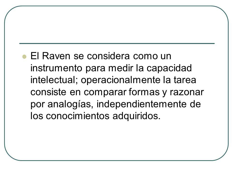 El Raven se considera como un instrumento para medir la capacidad intelectual; operacionalmente la tarea consiste en comparar formas y razonar por analogías, independientemente de los conocimientos adquiridos.