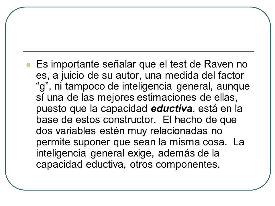 Es importante señalar que el test de Raven no es, a juicio de su autor, una medida del factor g , ni tampoco de inteligencia general, aunque sí una de las mejores estimaciones de ellas, puesto que la capacidad eductiva, está en la base de estos constructor.