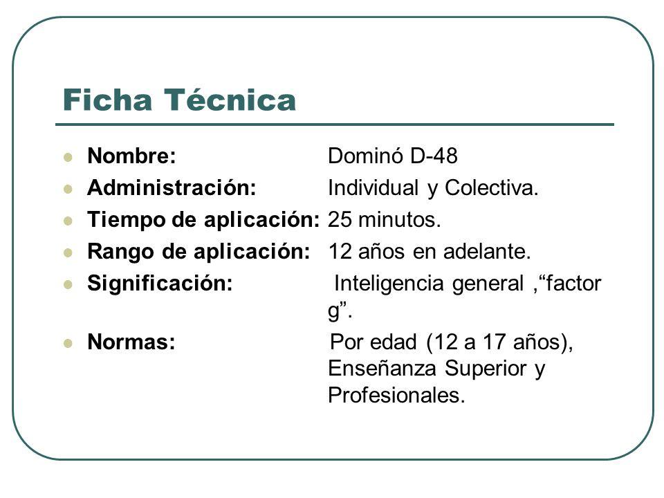 Ficha Técnica Nombre: Dominó D-48