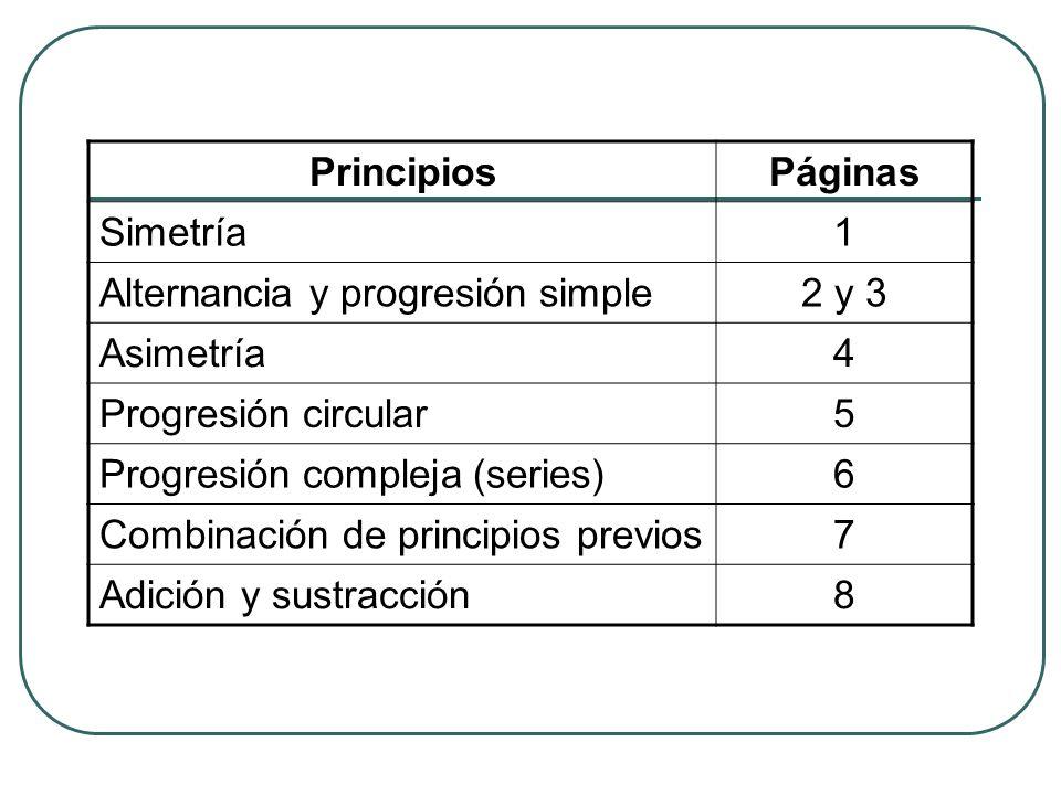 Principios Páginas. Simetría. 1. Alternancia y progresión simple. 2 y 3. Asimetría. 4. Progresión circular.
